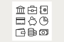 bank line icons set