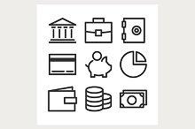 bank line icons set