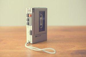 Vintage portable cassette recorder