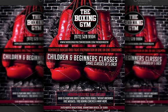 boxing gym flyer template flyer templates creative market