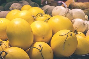 Fresh yellow melons in the supermarket. Bali island, Indonesia.