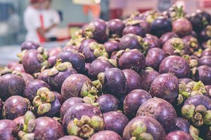 Fresh organic Mangosteen in the supermarket of a tropical Bali island, Indonesia.