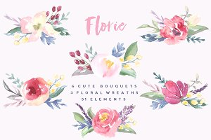 Watercolor cute bouquets Florie
