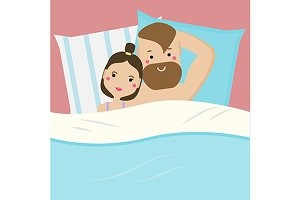 Couple in bed. vector