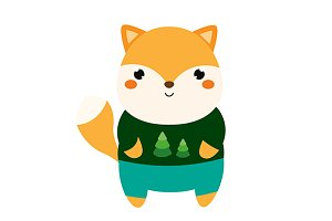 Cute cartoon fox. vector+jpg