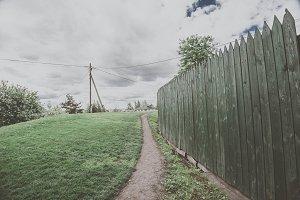 Garden green wooden fence