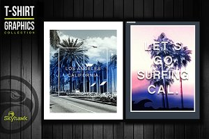 California surf tee shirt graphics