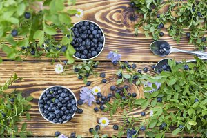 Blueberries on wooden background