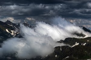 Birth of clouds high in mountains