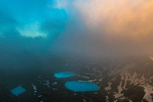 Mountain lakes in last beams of sun