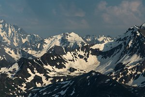 Snow mountain tops.