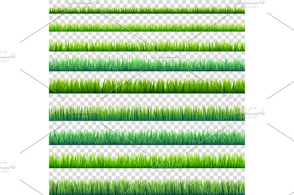 Grass Isolated On Transparent Background Set Green Meadow Nature Background Spring Summer Time
