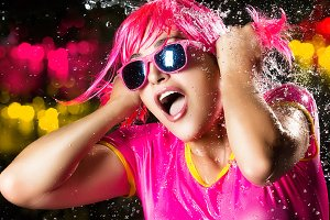Beauty Party Girl. Water Splash
