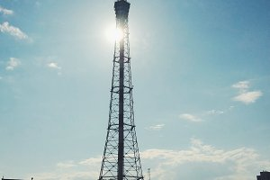 Television tower in sunlight