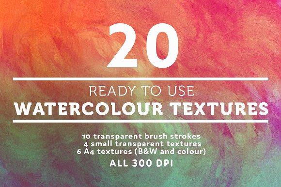 20 Watercolour Watercolor Textures