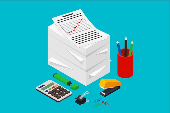 Isometric Heap Of Documents