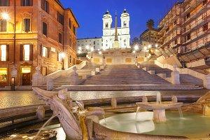Spanish Steps at night, Rome, Italy.