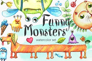 Watercolor Funny Monsters Set