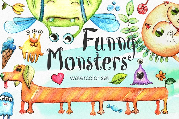 -30% Watercolor Funny Monsters