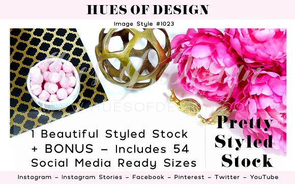 Gold Pink Flowers Styled Stock 1023