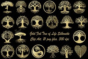 Gold Foil Tree of Life Silhouettes