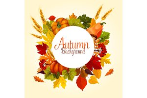 Autumn poster of vector leaf fall and harvest