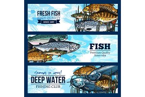 Vector banners for fishing or fisherman club
