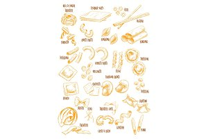 Italian pasta vector sketch names icons set
