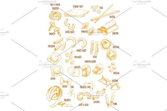 Italian Pasta Vector Sketch Names Icons Set