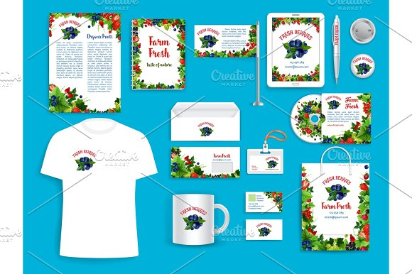 Corporate Identity Vector Items For Berry Company