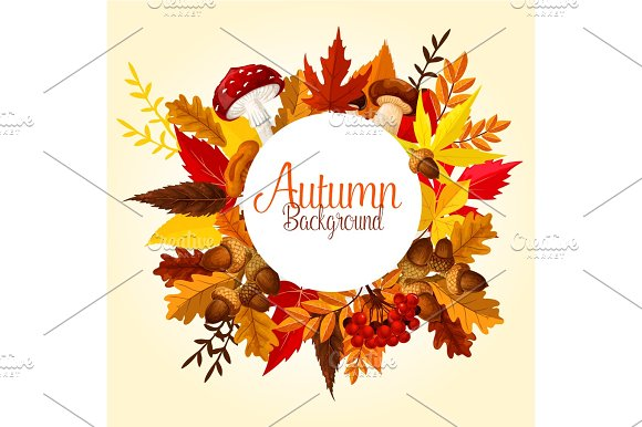 Autumn Leaf Mushroom And Forest Berry Poster