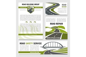 Road construction repair service vector templates