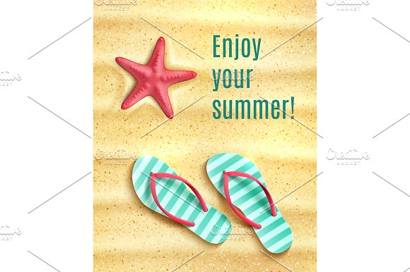 Vector Poster For Summer Beach Vacations Holidays