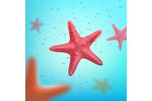 Summer ocean travel or vacations starfish poster