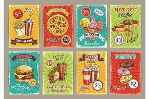 Vector price cards for fastfood meals restaurant