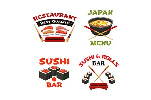 Vector icons template of Japanese sushi restaurant