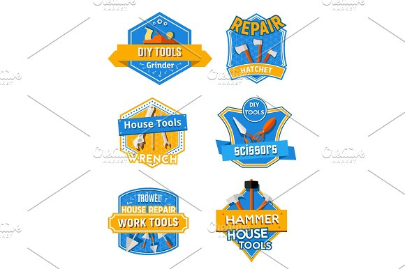 Home Repair Construction Work Tools Vector Icons