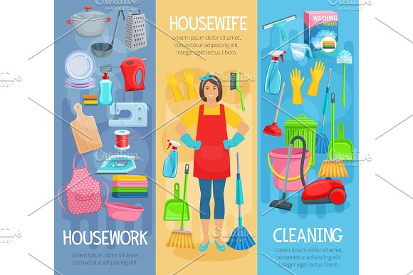 Vector Banners For Home Housework Cleaning Washing