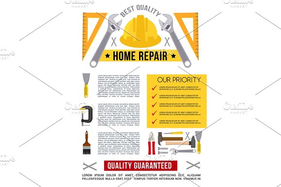 Vector Poster Template For Home Repair Work Tools