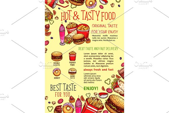 Vector Fastfood Poster For Fast Food Restaurant