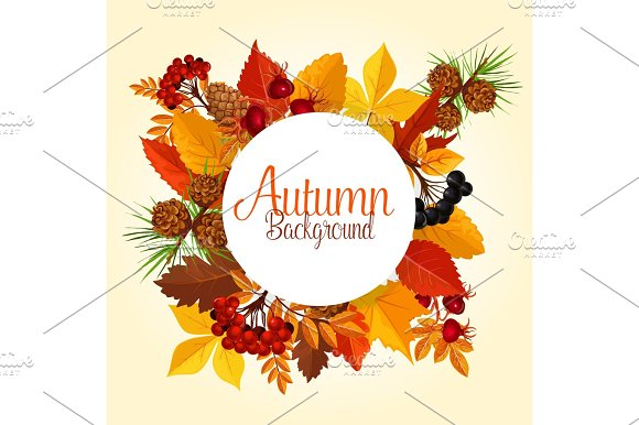 Autumn Vector Poster Of Leaf Fall And Forest Berry