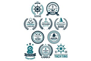 Vector nautical marine heraldic icons for yachting
