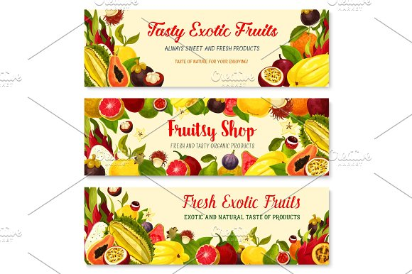 Vector Banners Of Exotic Fresh Tropical Fruits