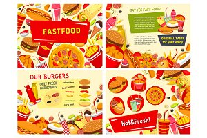 Vector fastfood posters for fast food restaurant