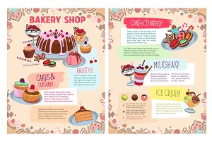 Vector poster of bakery sweet desserts and cakes