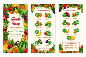 Vector menu price template of fruit shop or market