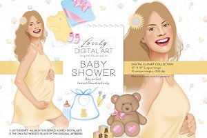 Baby Shower Digital Clip Art