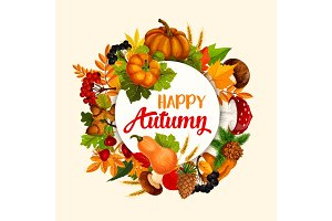 Autumn season poster design with leaf and pumpkin