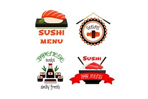 Japanese restaurant sushi menu vector icons set
