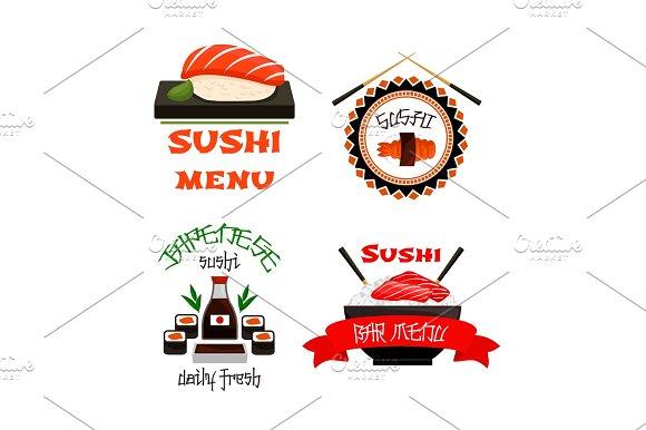 Japanese Restaurant Sushi Menu Vector Icons Set